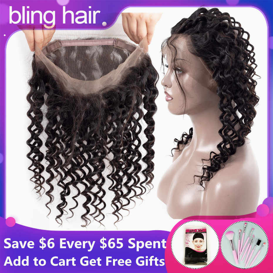 Bling Hair Brazilian Deep Wave Closure 360 Lace Frontal with Baby Hair Free Part 100% Remy 13*4 Human Hair Closure Natural Color