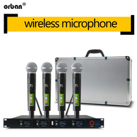 Dynamic microphone wireless microphone system professional 4 channel handheld microphone with aluminum box packaging