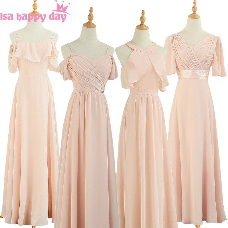 pink modern party a line semi formal plus size dress bridesmaid chiffon brides maid long bridemaids dresses bridal gown W4335