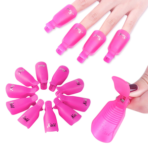10pcs Plastic Nail Art Clip Soak Off Remover Cap For UV Gel Polish Remover Wrap Varnish Cleaner Removal Manicure Tools LYND136-1
