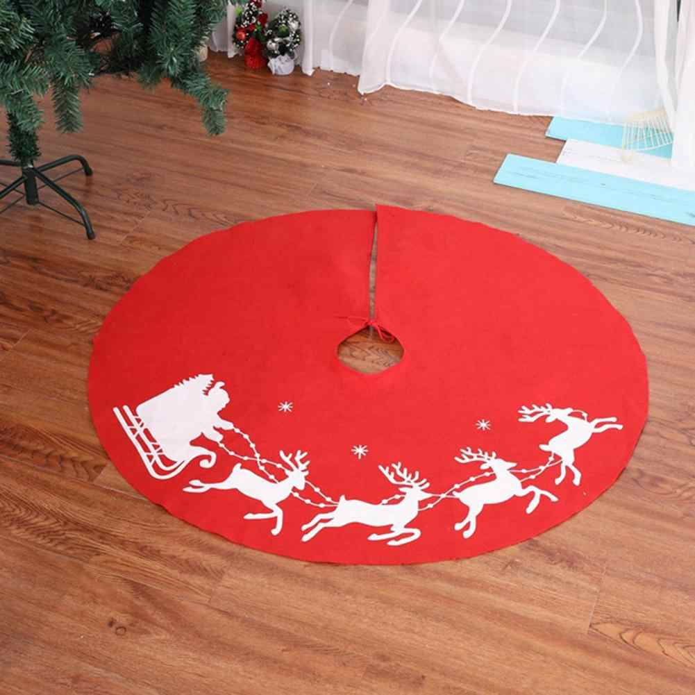 New Christmas Tree Skirt  Fabric Elk Print Christmas Tree Foot Cover Carpet Mat For Home New Year Christmas Decoration