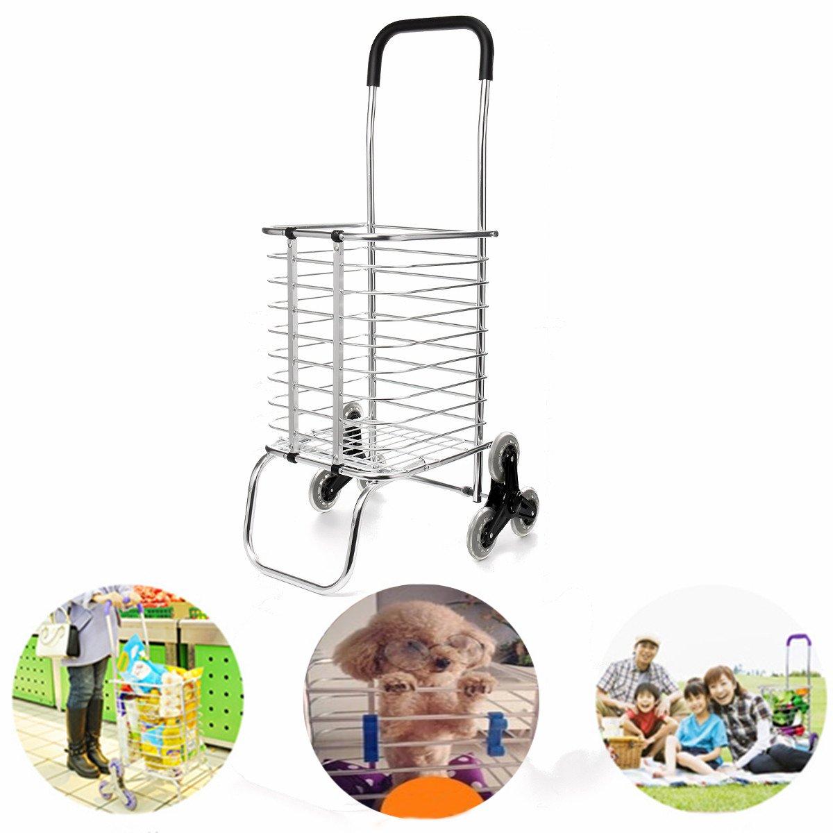Portable Folding Shopping Cart Hand Cart Basket Bag Luggage Trolley Climb Stairs 6 Wheels Aluminum Alloy