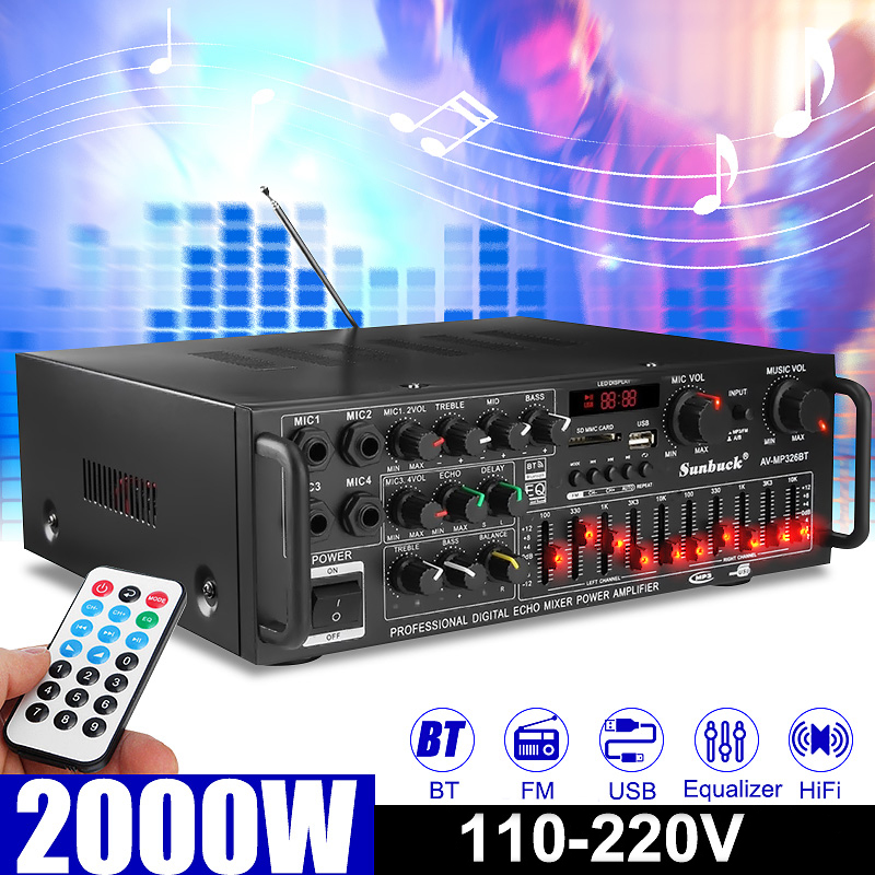 2000W 5.0 bluetooth 2 Channel Audio <font><b>HiFi</b></font> <font><b>Amplifier</b></font> Stereo 326BT 12V/220V AV Amp Speaker Support 4 Microphone Reverb Equilibrium image