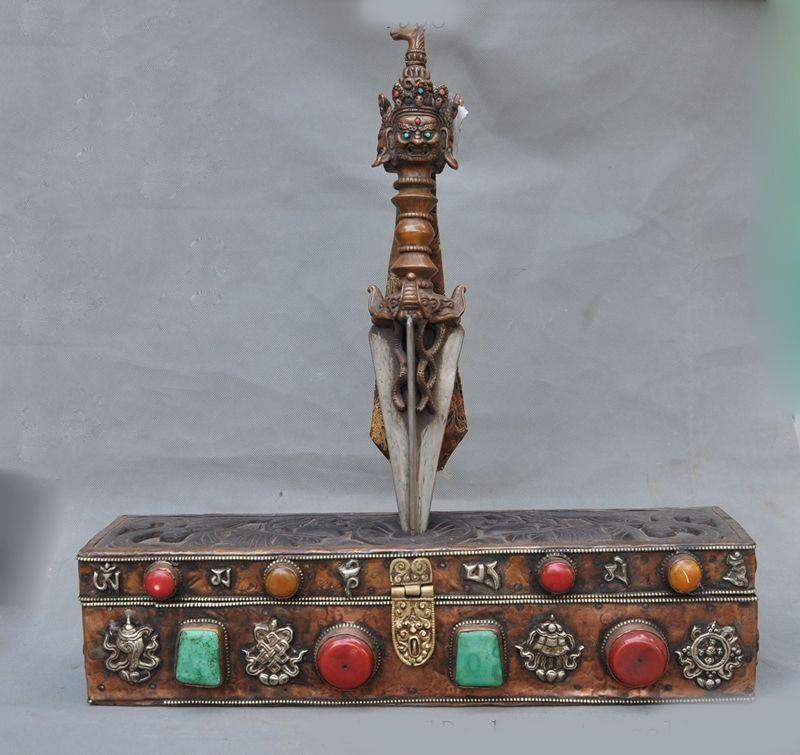 Christmas Old Tibet Bronze Silver Eight Treasures Mahakala Vajra Phurpa Dagger Holder Box New Year