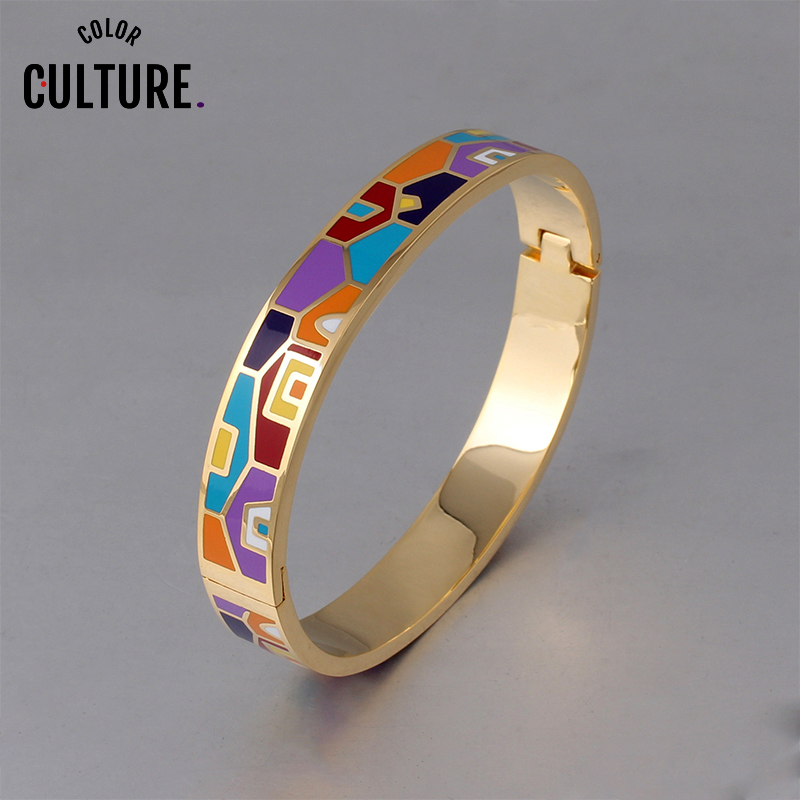 New Fashion Stainless Steel Open Bangle For Women Gold Geometric colorful enamel painted Bangles Wedding Jewelry(China)