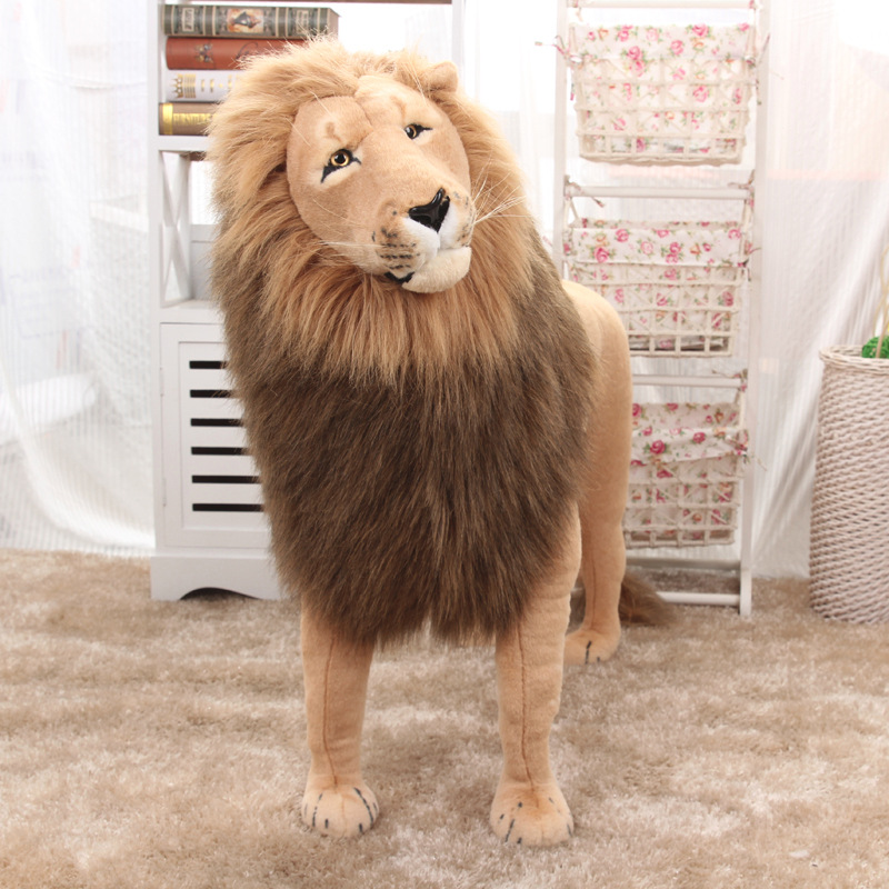 Huge Stuffed Toys Simulated Lion Large Plush Toys Children High Quality Lion Stand Christmas Gift Home Decoration 1.1m AA50MR - 5