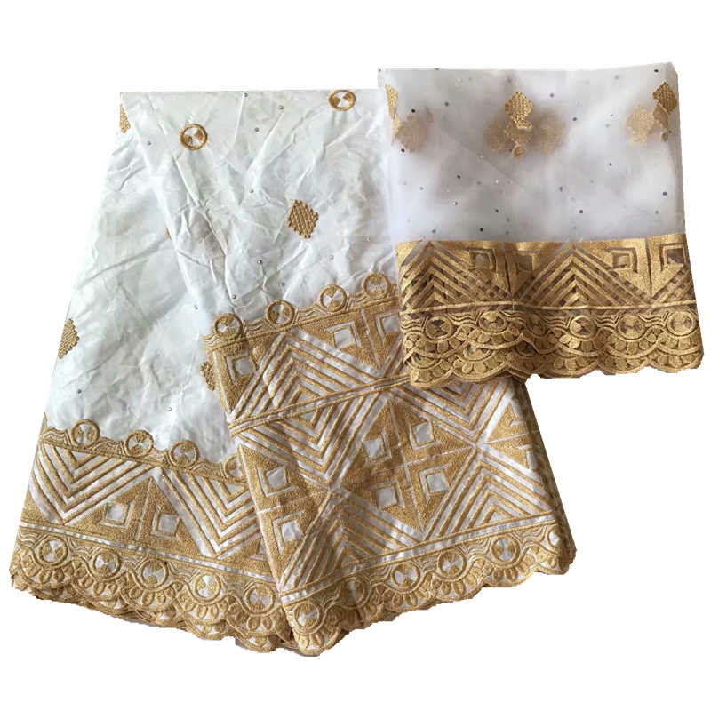 Nuovo arrivo bazin brode getzner bianco bacino riche tessuto con tulle camicetta di pizzo bazin africano getzner con ricamo
