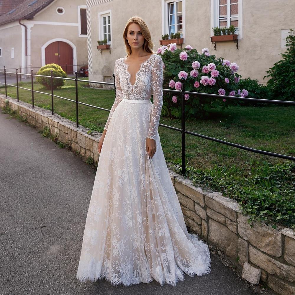 20 Boho Wedding Dress Eleagnt Lace Bohemian Bride Dresses Long Sleeve V  Neck A Line Bridal Gowns Vestidos De Noiva