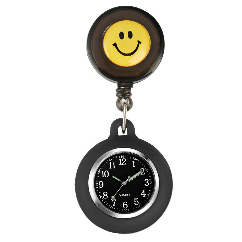 Cute Yellow Smiling Pocket Watch Nurse Silicone Luminous Women Pendant Watch Nurse Clock Verpleegster Reloj Enfermera Calcetines