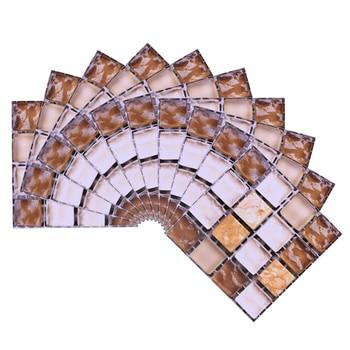 10*10cm Mosaic Self Adhesive Tile Wall Stickers Vinyl Bathroom Kitchen Home Decoration DIY PVC Stickers Decals Wallpaper 10pcs 18