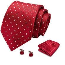Mężczyźni krawat czerwony Polka Dot jakości krawat ślubny dla mężczyzn krawat Hanky spinki krawat jedwabny zestaw projektant biznesu