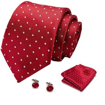 Men Tie Red Polka Dot  Quality Wedding For Hanky Cufflink Silk Set Designer Business