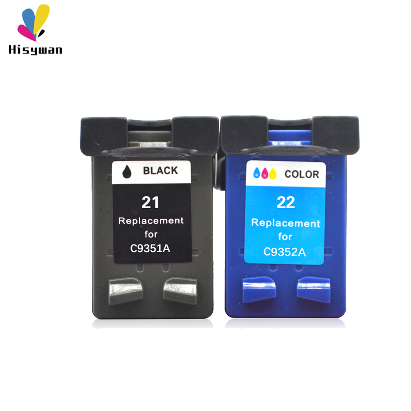 Hisywan Replacement For <font><b>HP</b></font> <font><b>21</b></font> <font><b>22</b></font> Ink <font><b>cartridge</b></font> For HP21 HP22 F2180 F2200 F2280 F4180 F300 F380 380 D2300 printers C9351A C9352A image