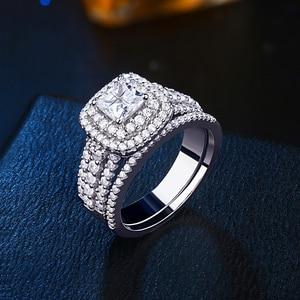 Image 3 - Newshe 925 スターリングシルバーハロー女性のためのエレガントなジュエリープリンセスクロスカットキュービックジルコニア婚約指輪