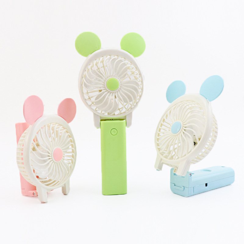 Cartoon Design Portable USB Charging Personal Air Cooling Fan Handheld Folding Hanging Fans For Home Office