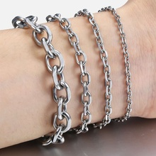 2.5mm 3mm 4mm 6mm 10mm Rolo Cable Mens Chain Boys Silver Tone Stainless Steel Bracelet Wholesale Jewelry Bulk Price LKBM41 high quality punk harley jewelry boys mens chain skull black silver tone biker motorcycle link 316l stainless steel bracelet
