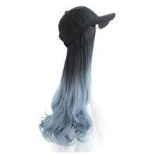 Women's Hat Wig One Peak Cap Haze Blue Large Wavy Long Hair Wig Synthetic Hair Dark Brown Black Curly Wig