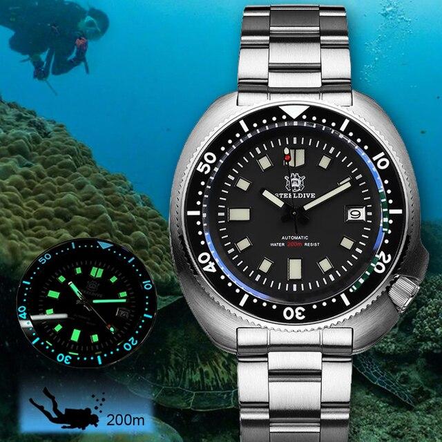 Steeldive 프로 다이버 시계 200M 방수 NH35 자동 시계 남자 사파이어 크리스탈 스테인레스 스틸 럭셔리 기계식 시계 다이빙