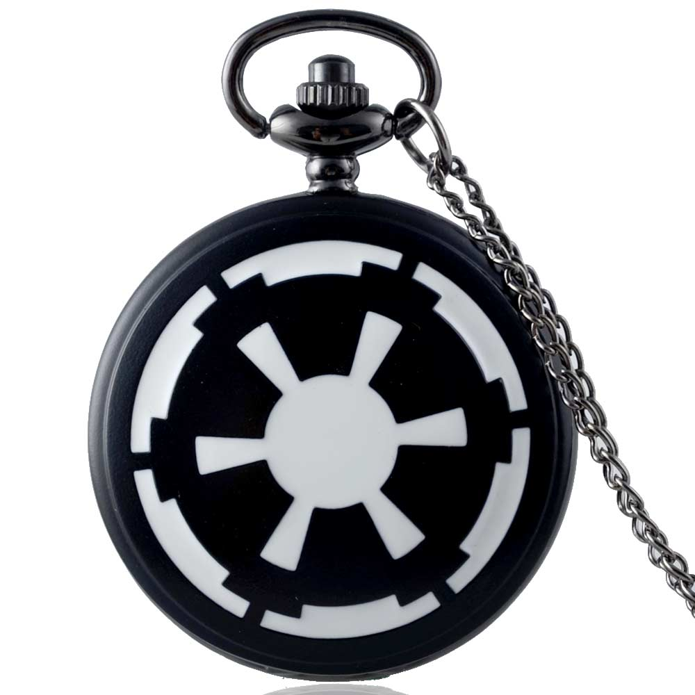 IBEINA Fashion Black Star Wars Imperial Quartz Pocket Watch Retro Men Women Pendant Necklace Jewelry Gifts