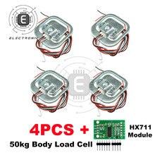 4 adet 50KG insan ölçekli vücut yük hücresi direnci gerginlik ağırlık sensörü + HX711 modülü BASINÇ SENSÖRLERİ ölçüm araçları
