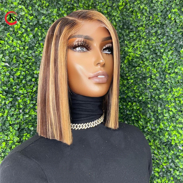 KUNGANG Highlight 4*4 lace closure wig Bob Human Hair Wigs Brazilian Front Wigs 150% Density With Baby Hair Non-Remy 2