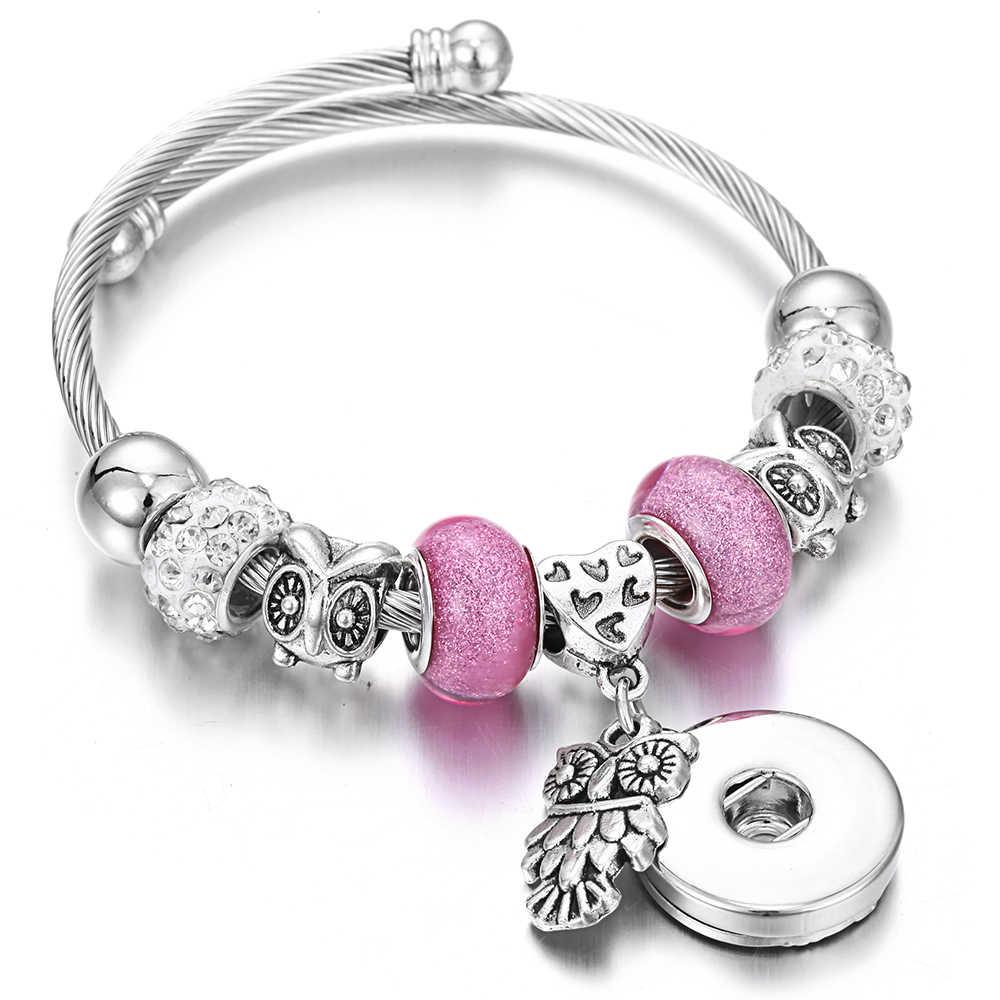 Baru Snap Perhiasan Gelang Burung Hantu Logam Perak Manik-manik Snap Gelang Manset Bangle Cocok 18 Mm Snap Tombol Perhiasan Manik-manik Membuat perhiasan