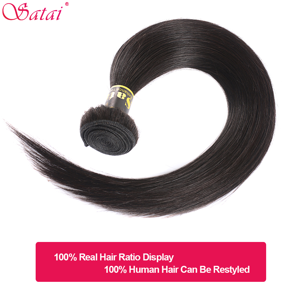 Image 3 - Satai Straight Hair Human Hair 3 Bundles With Frontal Natural Color Peruvian Hair Bundles With Closure Non Remy Hair Extension-in 3/4 Bundles with Closure from Hair Extensions & Wigs