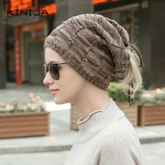 Hat scarf dual purpose set women Autumn Beanies fleece hat Knitted Plush Wool Cap Winter men Outdoor Windproof protect face neck 3