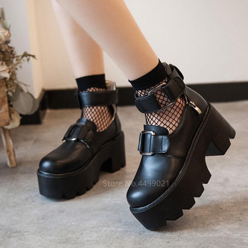 Lolita Gothic Round Toe Mary Jane Shoes Japanese College Girl Soft Sister JK Uniform Harajuku PU Leatehr Platform Black Shoes