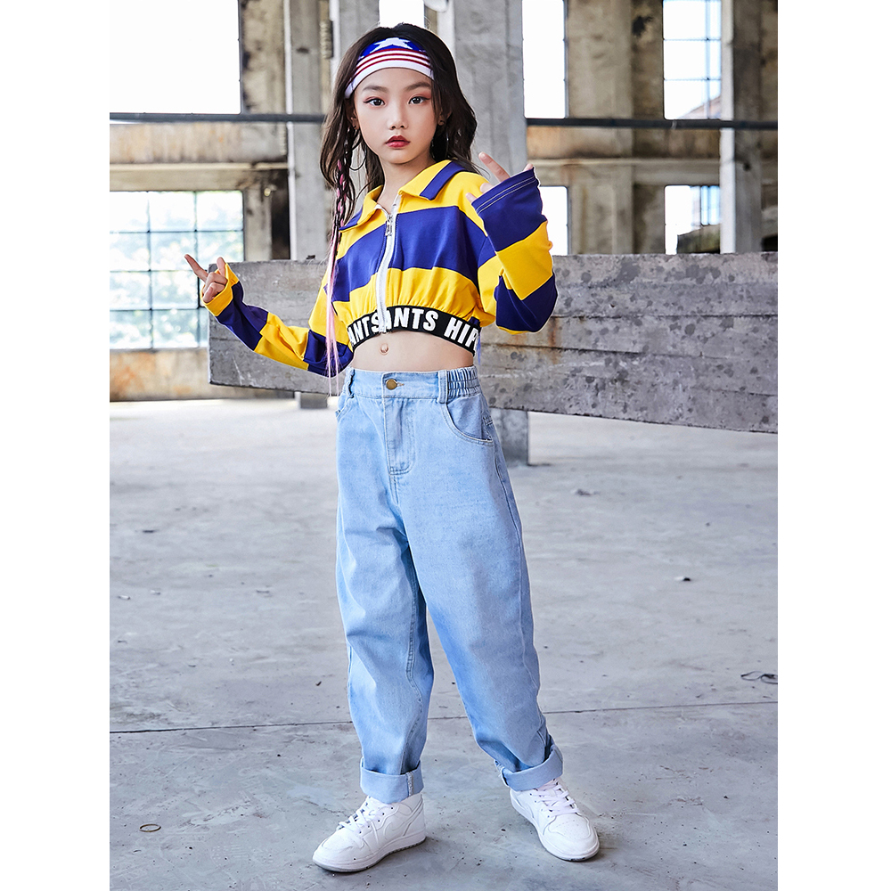 New Jazz Dance Costumes Girls Tops Pants Cheerleader Costume Kids Hip Hop Stage Performance Clothing Modern Dancing Wear DQS2571