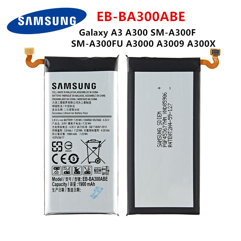 SAMSUNG Orginal EB-BA300ABE 1900mAh Battery For Samsung Galaxy A3 A300 SM-A300F SM-A300FU A3000 A3009 A300X Mobile Phone