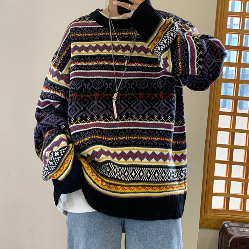 Winter Sweater Men's Warm Fashion Retro Casual O-neck Knit Pullover Men Streetwear Knitting Sweaters Male Sweter Clothes M-2XL
