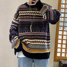 Zimowy Sweter męska ciepła moda Retro Casual O-neck dzianinowy Sweter mężczyźni Streetwear swetry dziergane męskie Sweter ubrania M-2XL