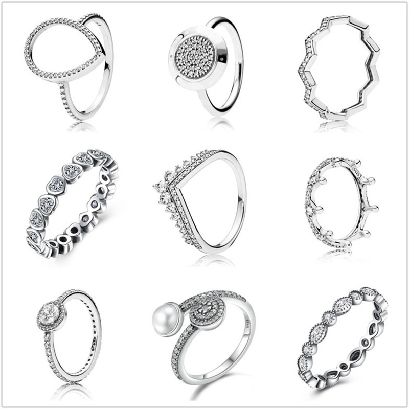 Silver Ring Pave Logo Signature With Crystal Pan Rings For Women Wedding Party Birthday Gifts Fine Jewelry
