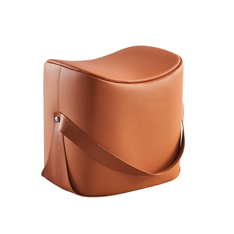 Hand Carry On 43cm High Small Stool / Eco Leather Upholstery / Modern Design Low Stool