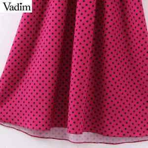Image 5 - Vadim kobiety chic kropki długa sukienka z długim rękawem muszka skrzydła kobiece ubranie biurowe stylowe eleganckie sukienki vestidos QD132