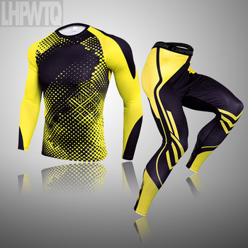 3-piece sets Compression Suits Men's Quick Dry set Clothes Sport Running MMA jogging Gym work out Fitness Tracksuit clothing 18
