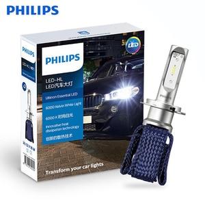 Original philips ultinon essencial h7 led farol do carro 6000 k luz branca brilhante 11972ue auto lâmpada led calor inovador