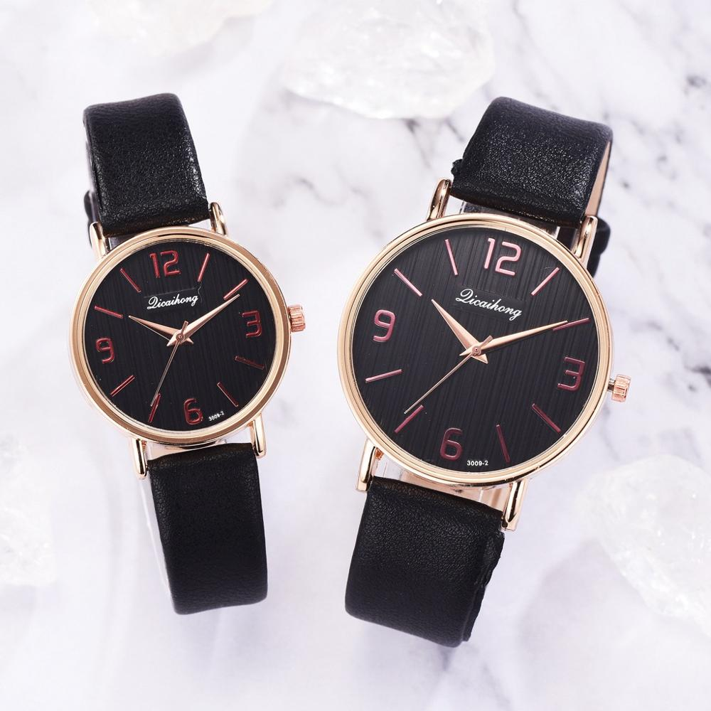 Unisex Watch Couple Watches Lovers Hot Selling Quartz Analog Leather Band Wrist Watch Student Watch Women & Men Wristwatch Free