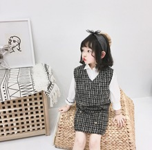 Children Clothing Set 2pcs Plaid Skirts Clothes for Girls 3t Outfits Childrens Girl Sleeveless