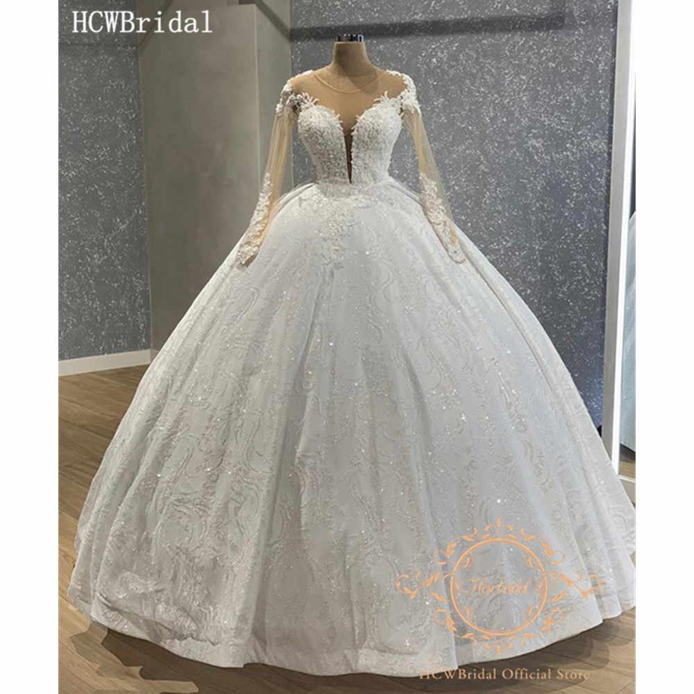New Arrival Bling Ball Gown Wedding Dresses Long Sleeves Luxury Rhinestones Lace Dubai Bridal Wedding Party Dress Customize Wedding Dresses Aliexpress
