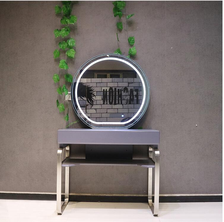 Barbershop Mirror Top Grade Hair Salon With Lamp Hair Dressing Mirror Stainless Steel European Mirror Studio Makeup Mirror