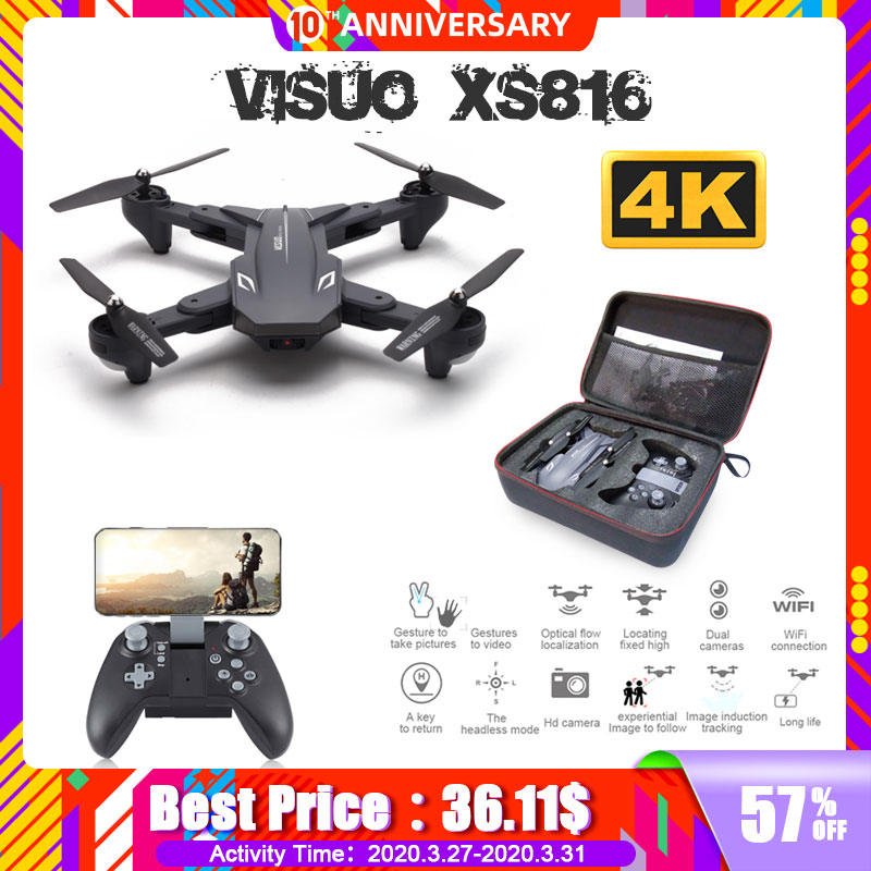 Visuo XS816 RC Drone with 50 Times Zoom WiFi FPV 4K Dual Camera Optical Flow