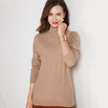 LHZSYY 2019 Otoño Invierno nueva mujer 100% pura lana suéter alto cuello suelto alta calidad Bottoming camisa caliente grueso corto blusa