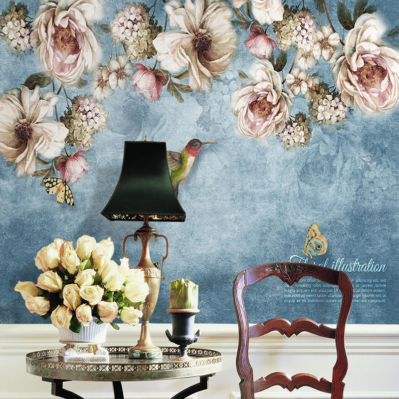 Drop Shipping Custom Wall Mural De Parede European Style Hand Painted Flowers Birds Oil Painting Bedroom Decoration Wallpaper 3D