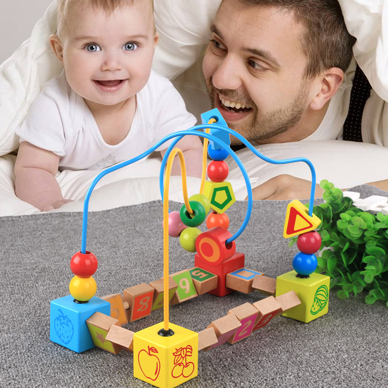 Kirby Children With Numbers Bead-stringing Toy Yunhe Wooden Double Camera Track Bead-stringing Toy Baby Early Childhood Educatio
