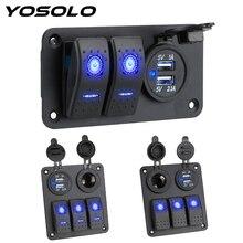 Yosolo 2/3 Gang 12 ~ 24V Circuit Controle Digitale Voltmeter Dual Usb poort Outlet Combinatie Auto Schakelpaneel Interieur onderdelen