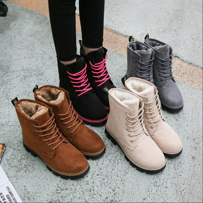 Winter Boots Snow Boots Women Shoes Woman Boots Fashion Flat PU Waterproof Ankle Boots Booties 2019 Winter Short Fur Warm Boots