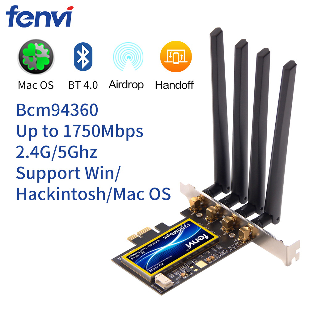 FV-T919 1750Mbps Dual Band 802.11AC Desktop Wifi Adapter Broadcom BCM94360 Wireless Bluetooth 4.0 Mac OSX Hackintosh