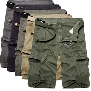 Cotton Shorts Trousers Bermuda Military Army-Green Summer Mens Casual Multi-Pocket 40